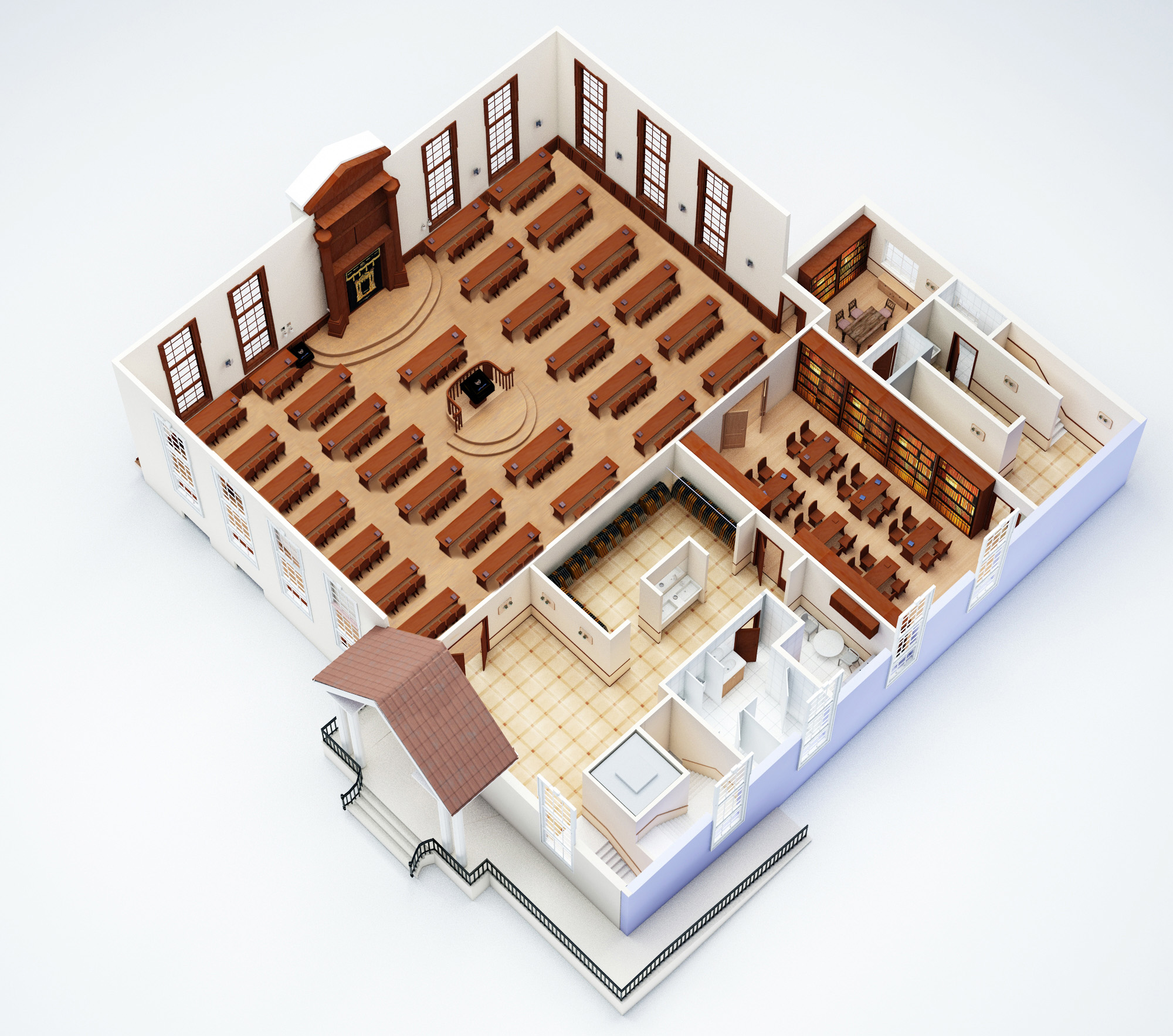 Synagogue floor plan model