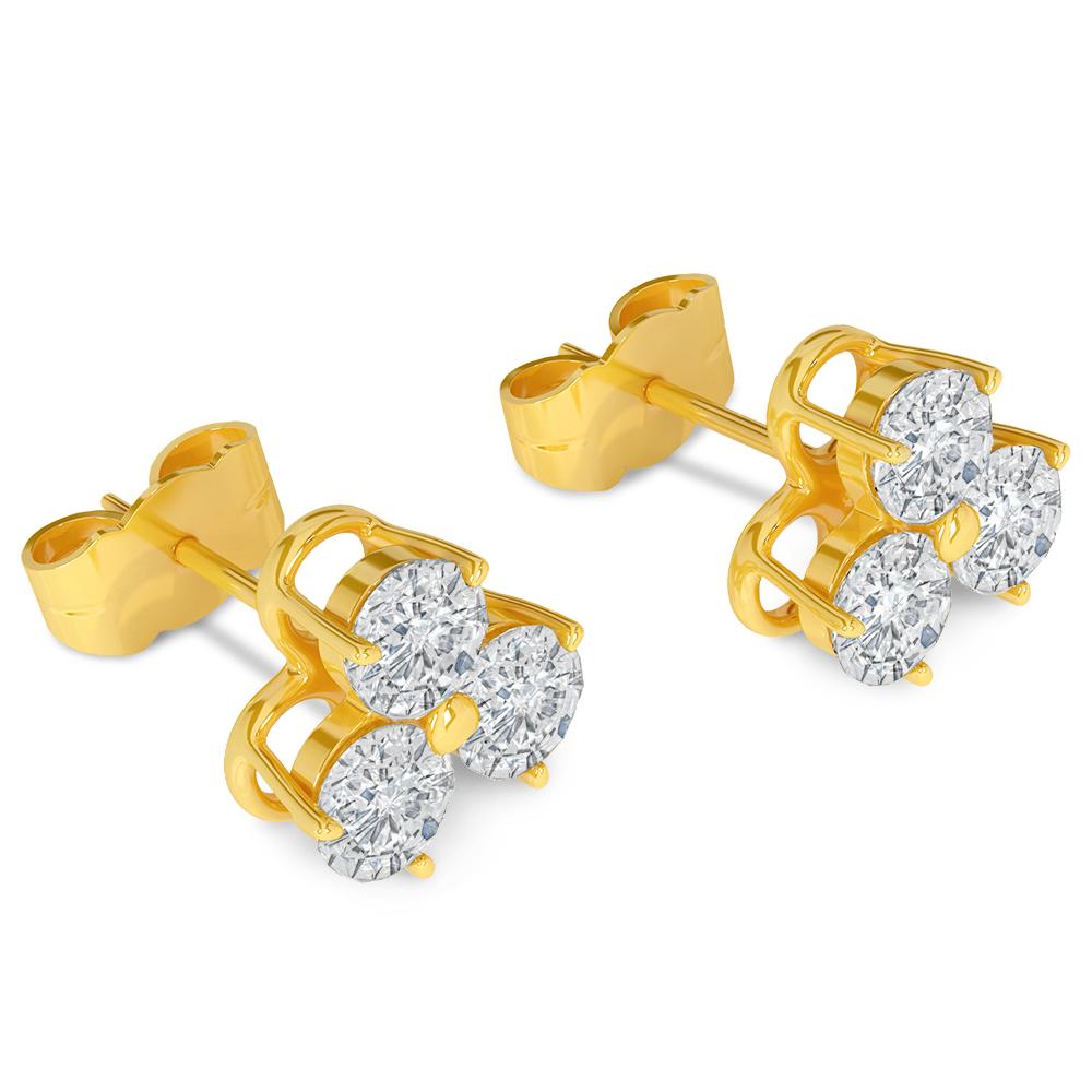 3d Brilliant Earrings yellow gold  model