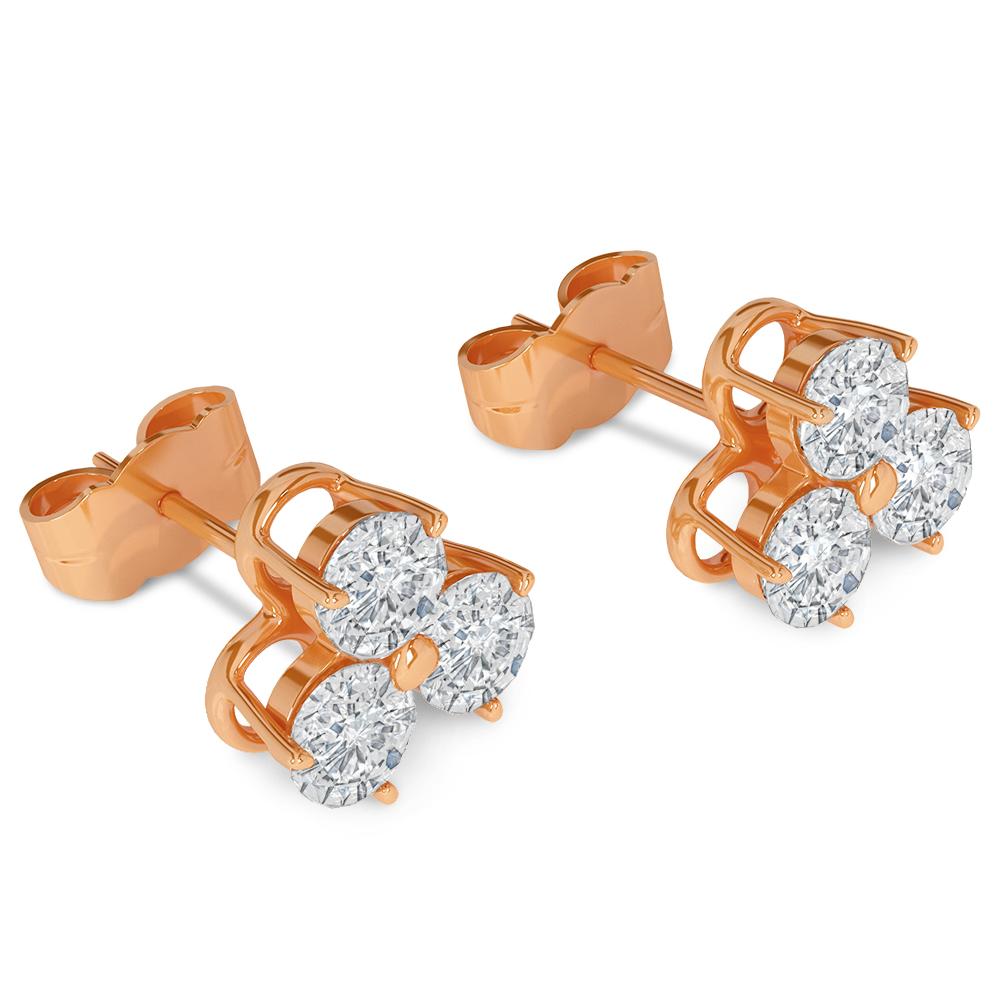 3d Brilliant Earrings rose gold model