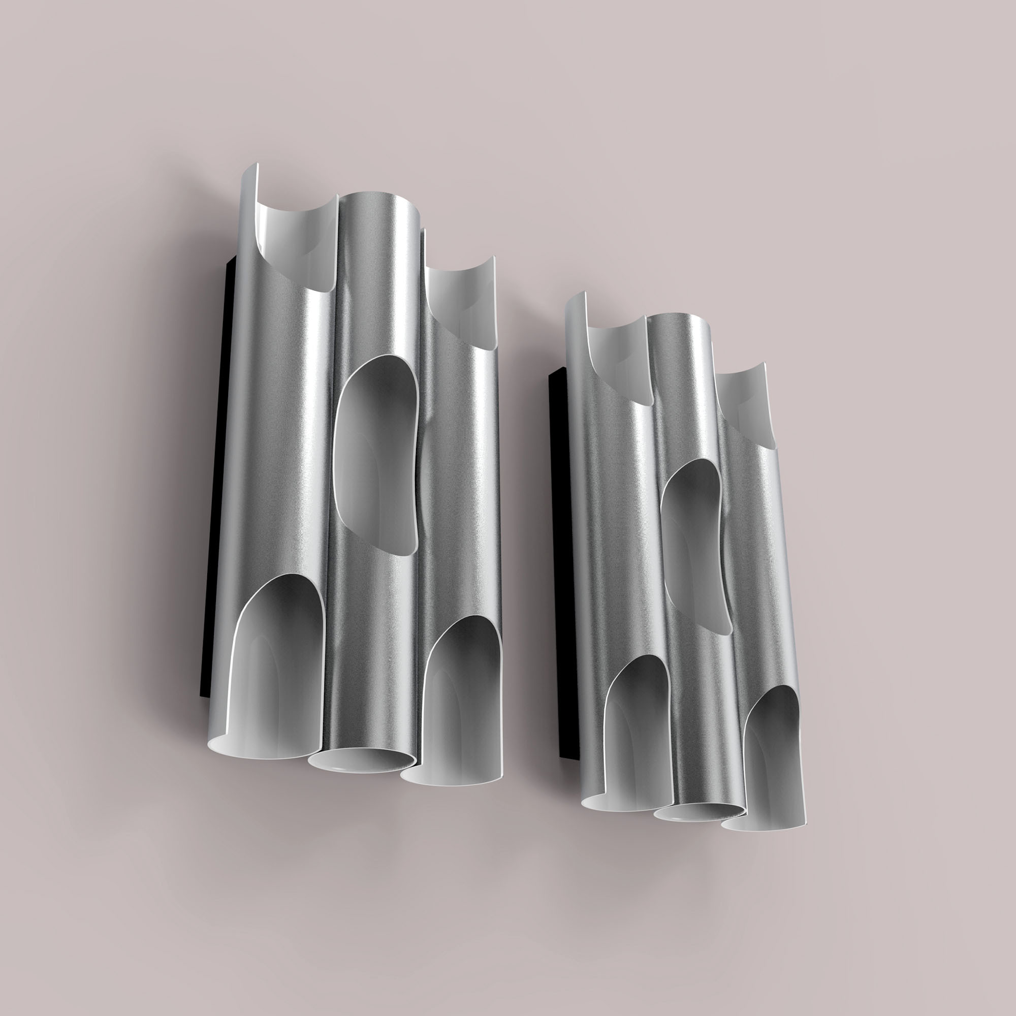 Minimalist Elegant Silver Tube Style  Wall Lamp  - 3D Model