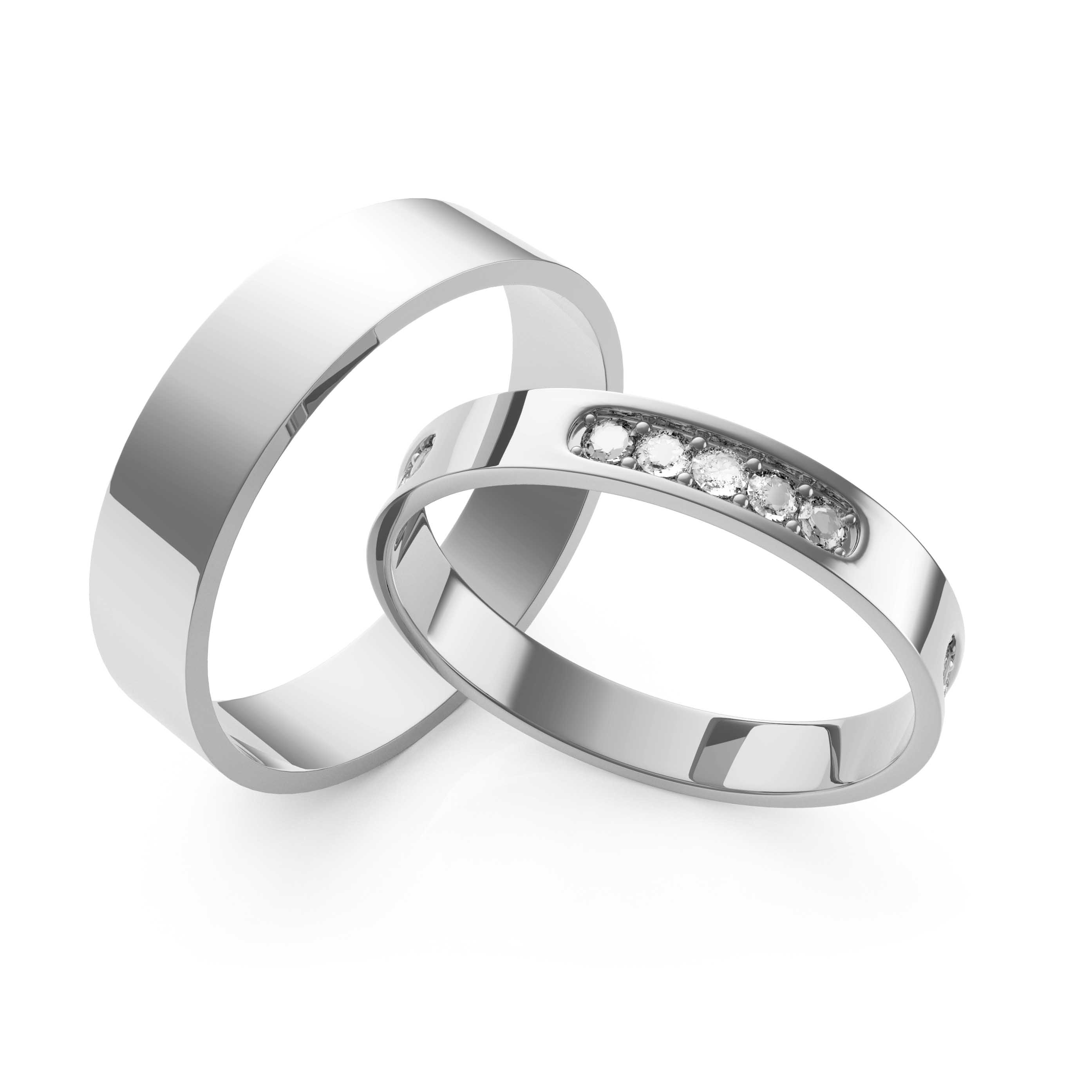 Rings Set White Gold - 3D Model
