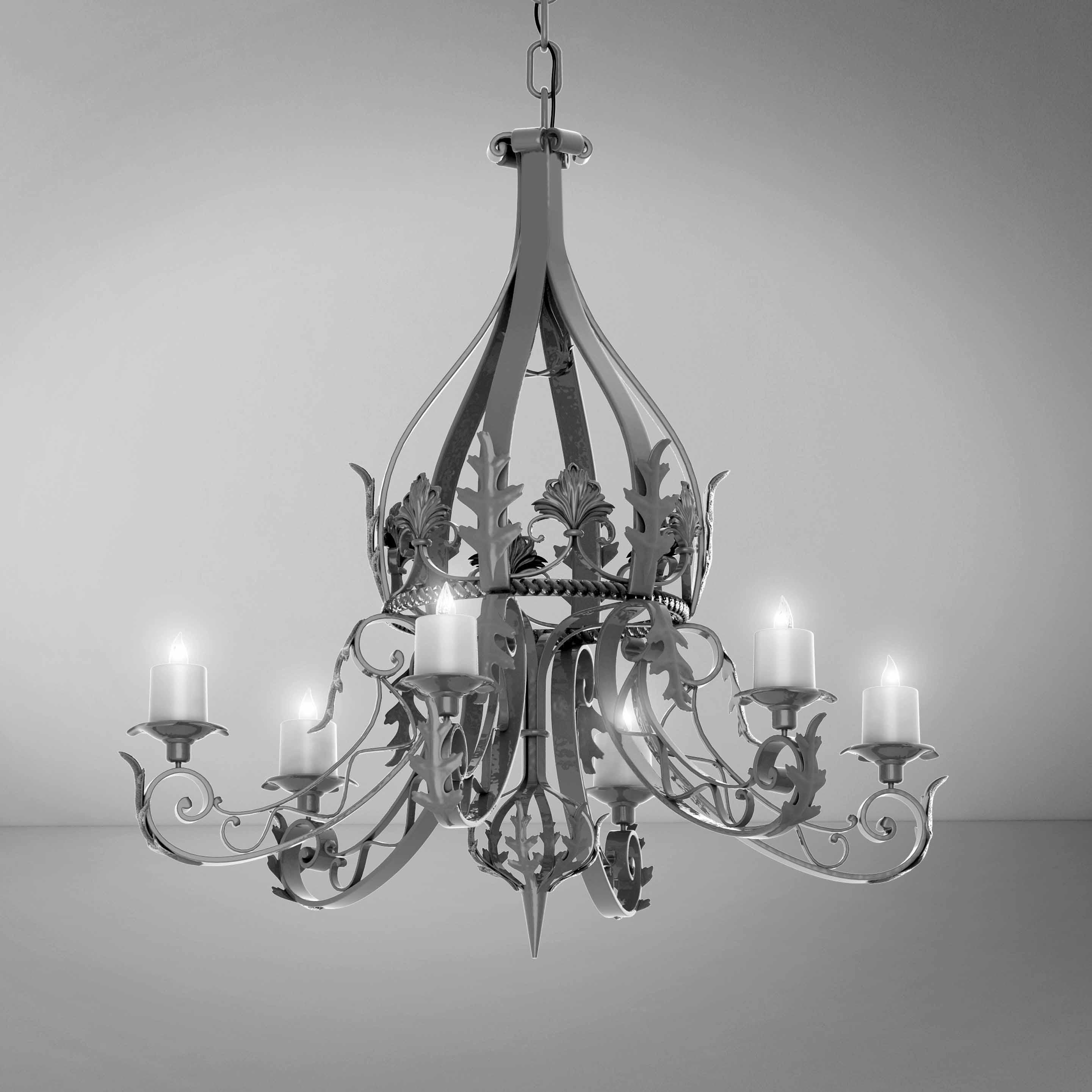 Elegant Luxury Silver Chandelier - 3D Product
