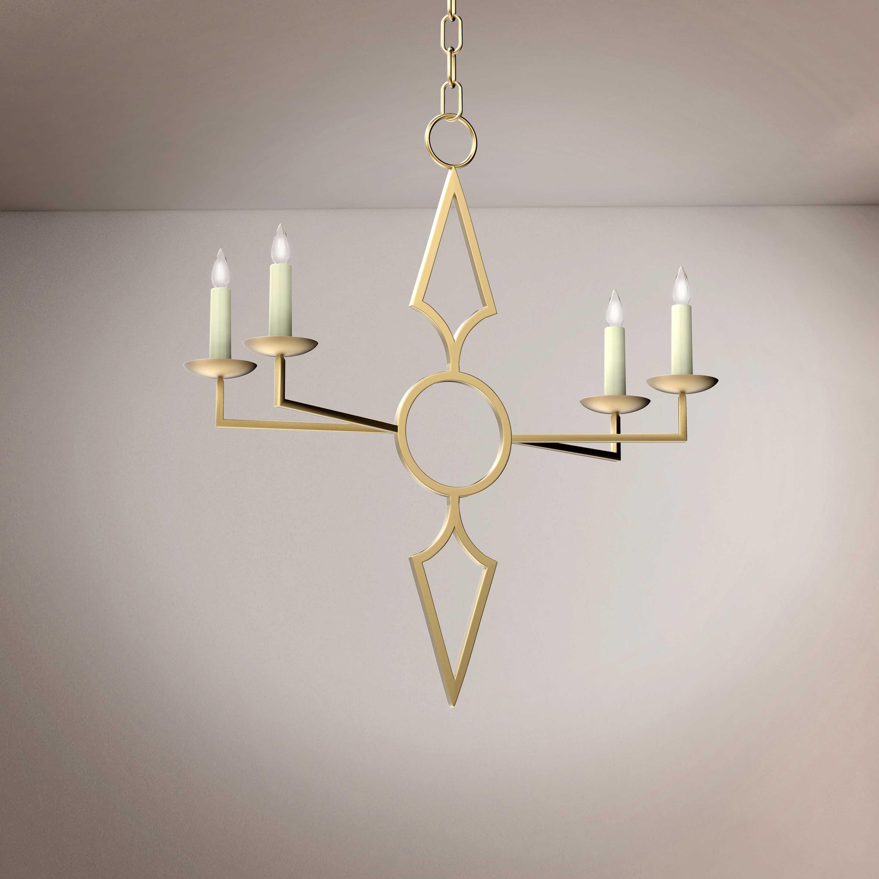 Golden Minimalist Hanging Chandelier - 3D Product