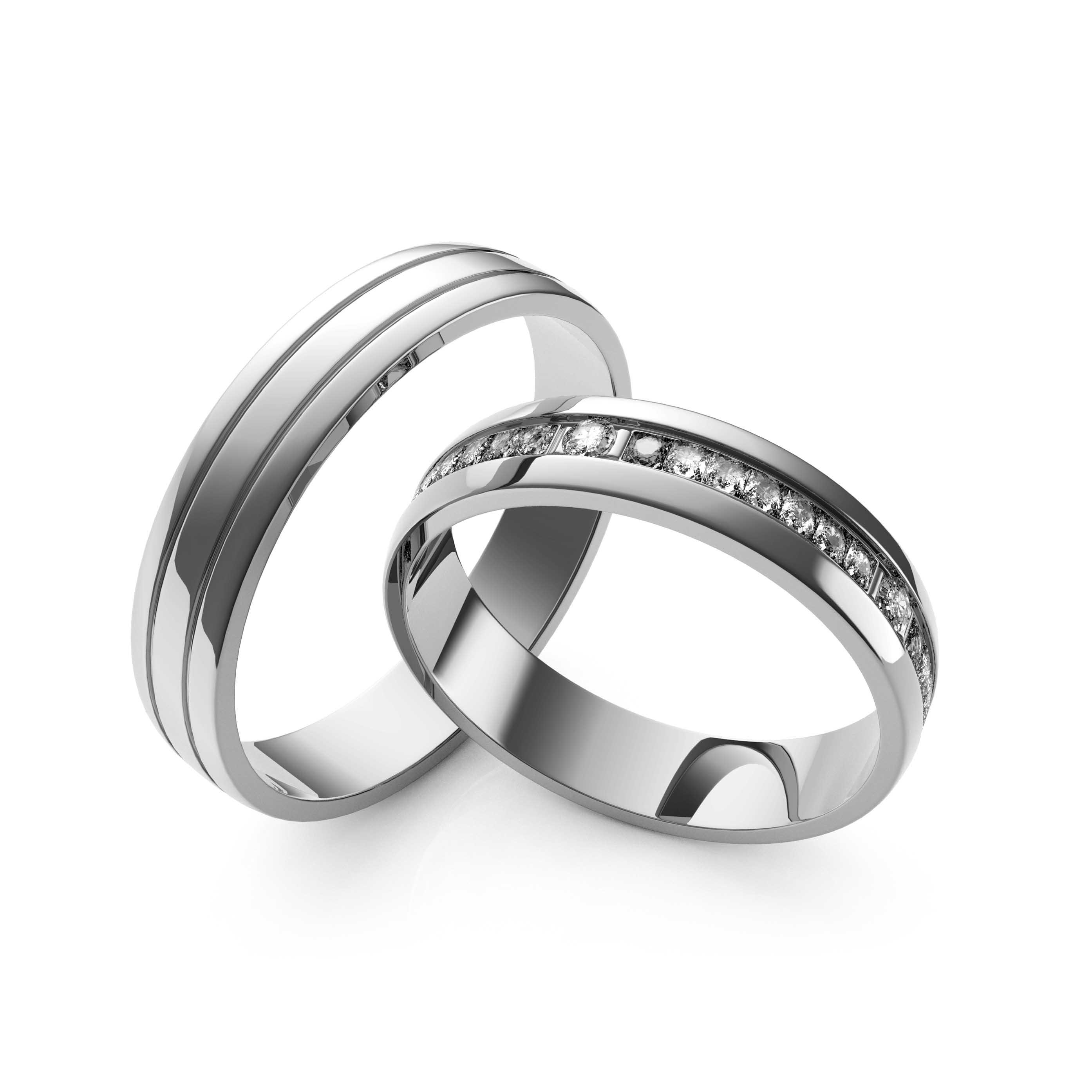 Rings Set White Gold - 3D Model