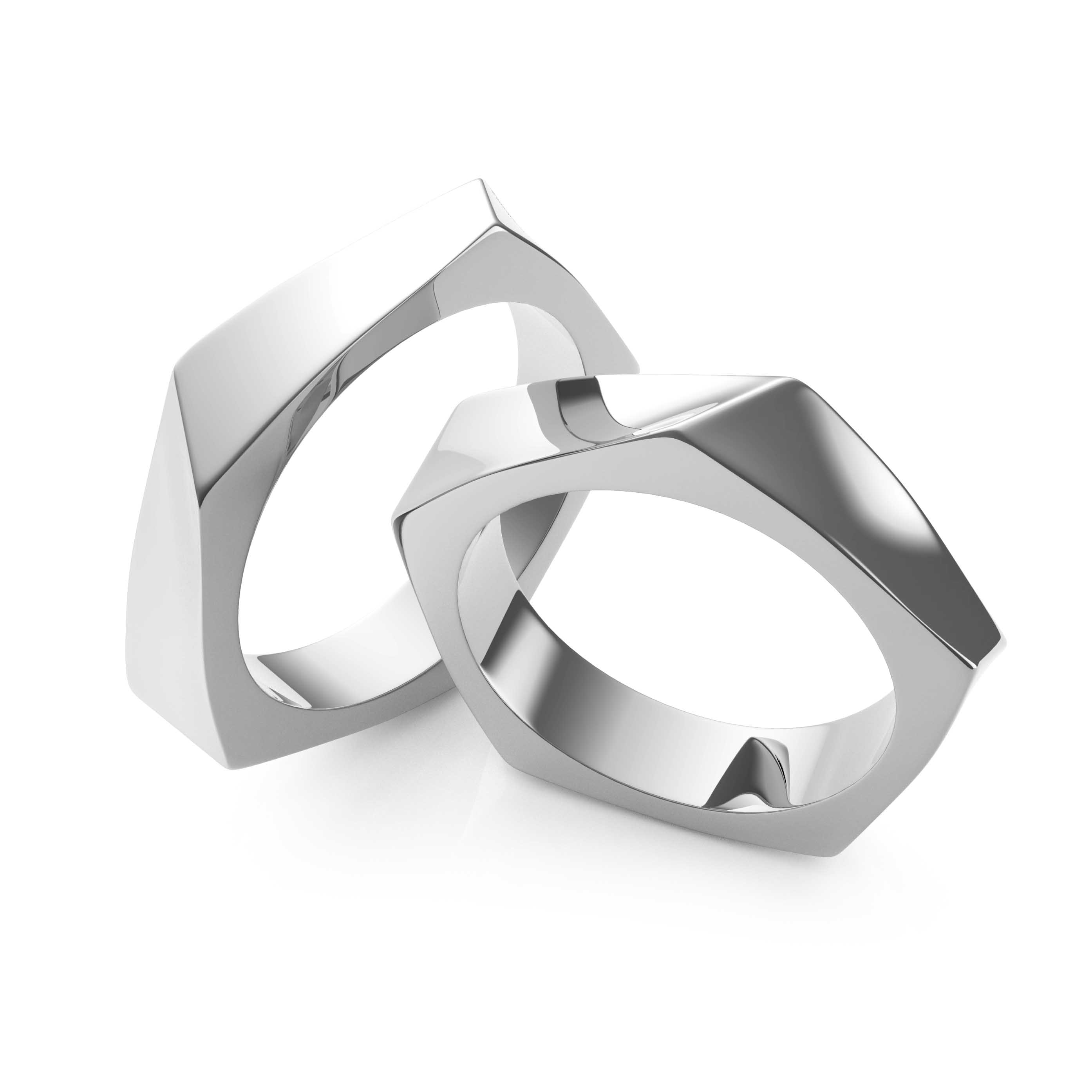 Wedding Rings White Gold - 3D Model