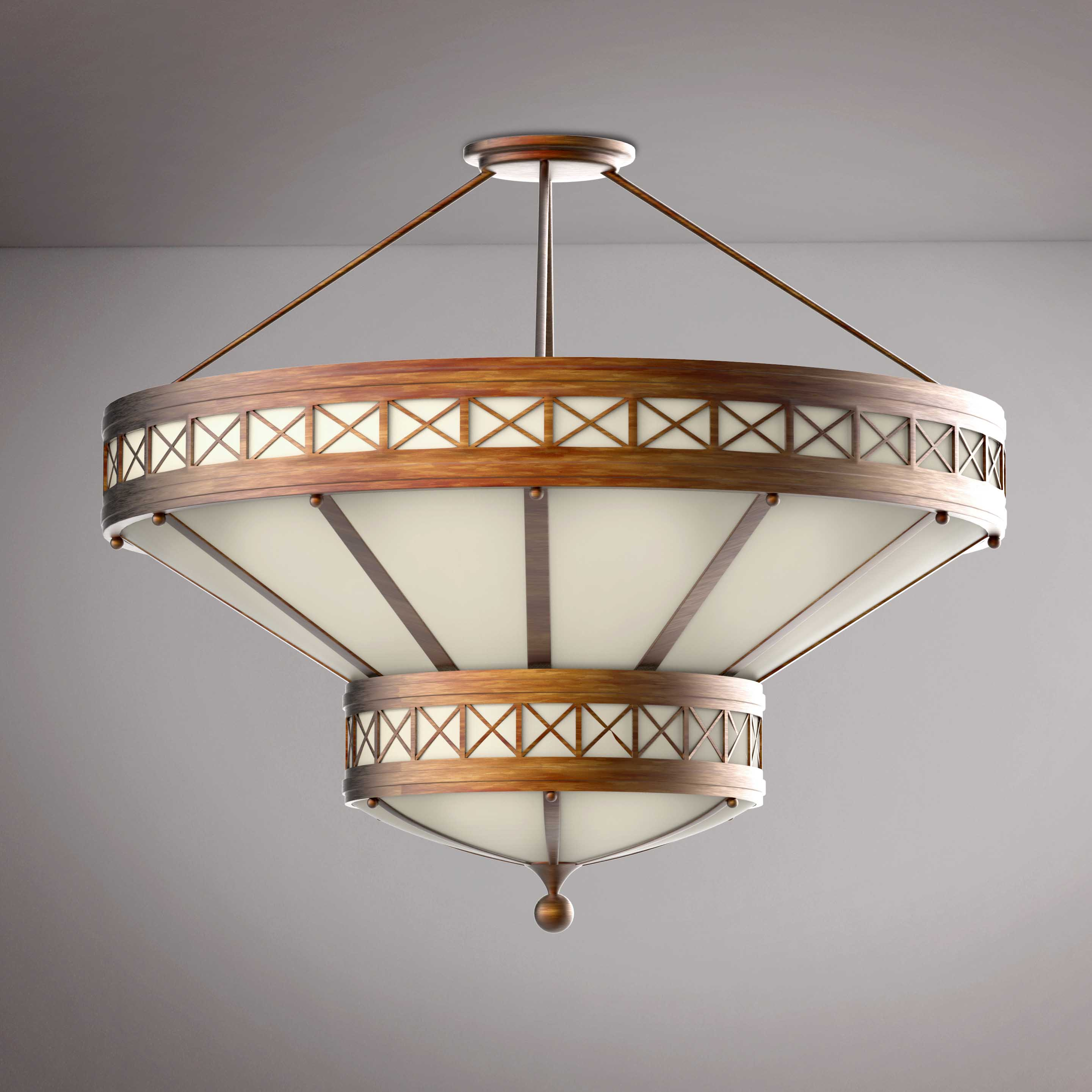 Round  Wooden Vitage Chandelier - 3D Product