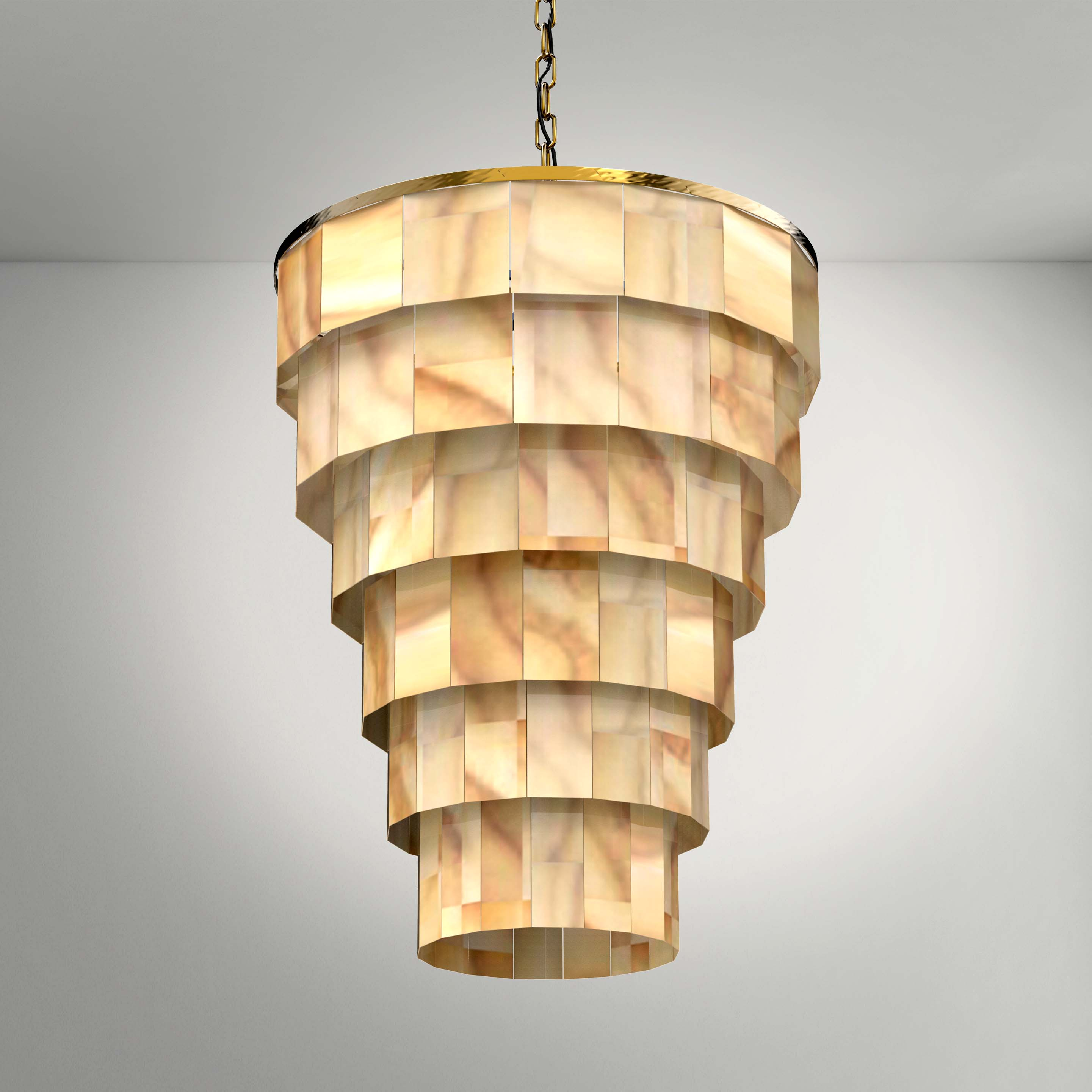 Golden Luxury Layered Chandelier - 3D Product