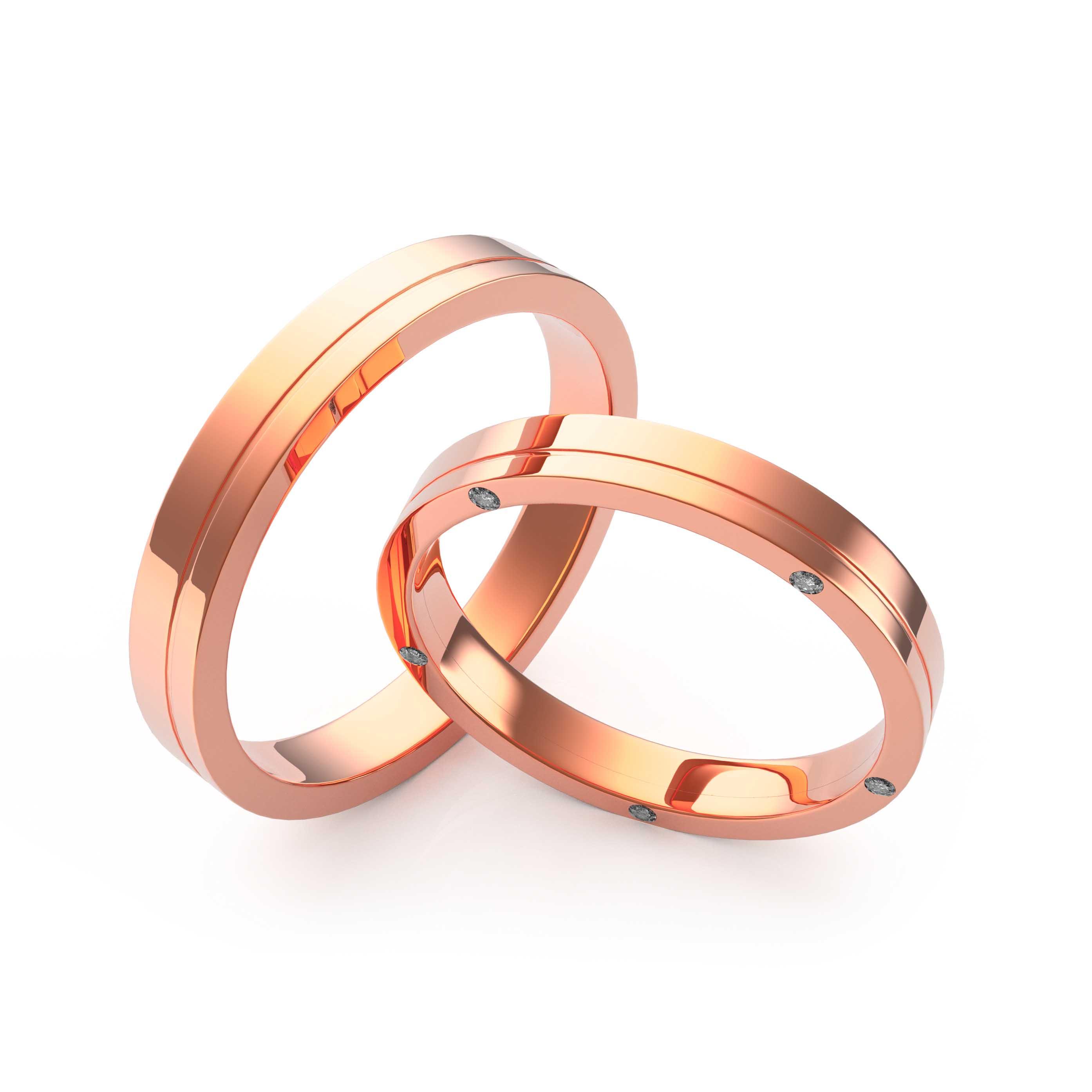 Rings Set Rose Gold - 3D Model