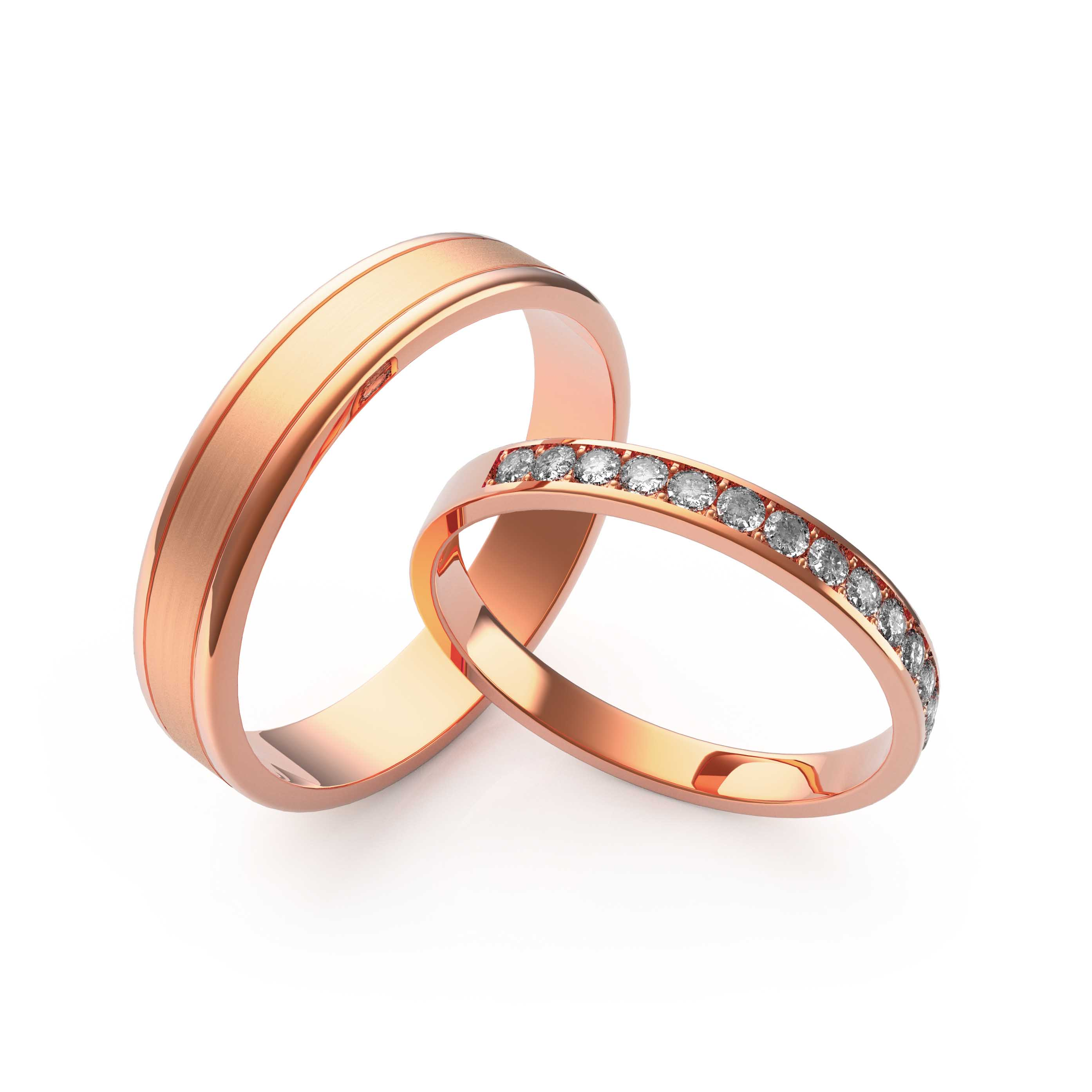 Rings Set Rose Gold - 3D Model