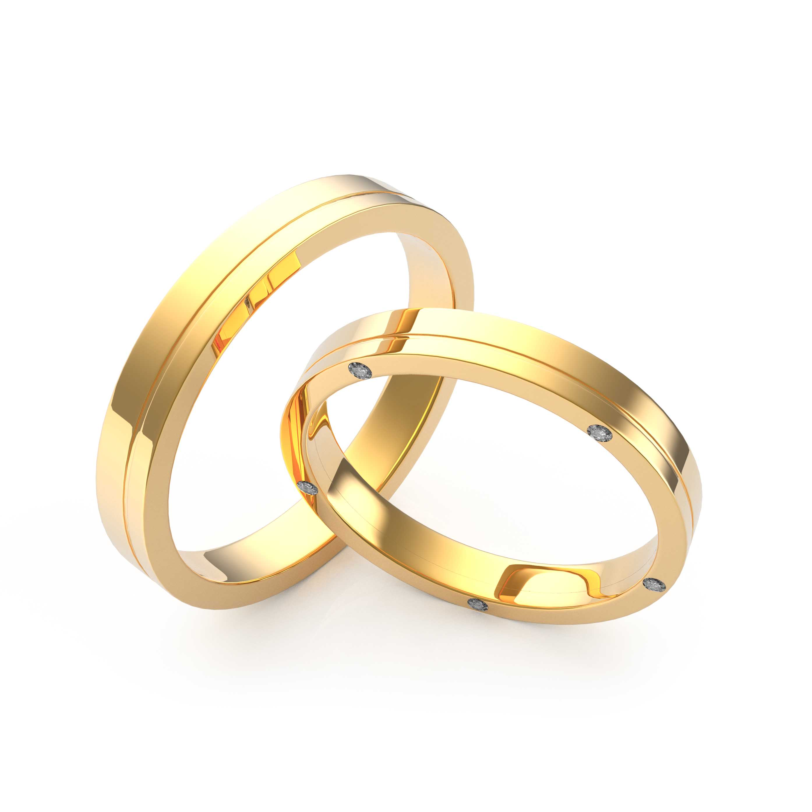 Rings Set Yellow Gold - 3D Model