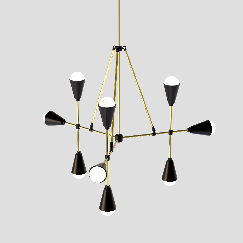 Modern Golden and Black Hanging Lamp - 3D Model