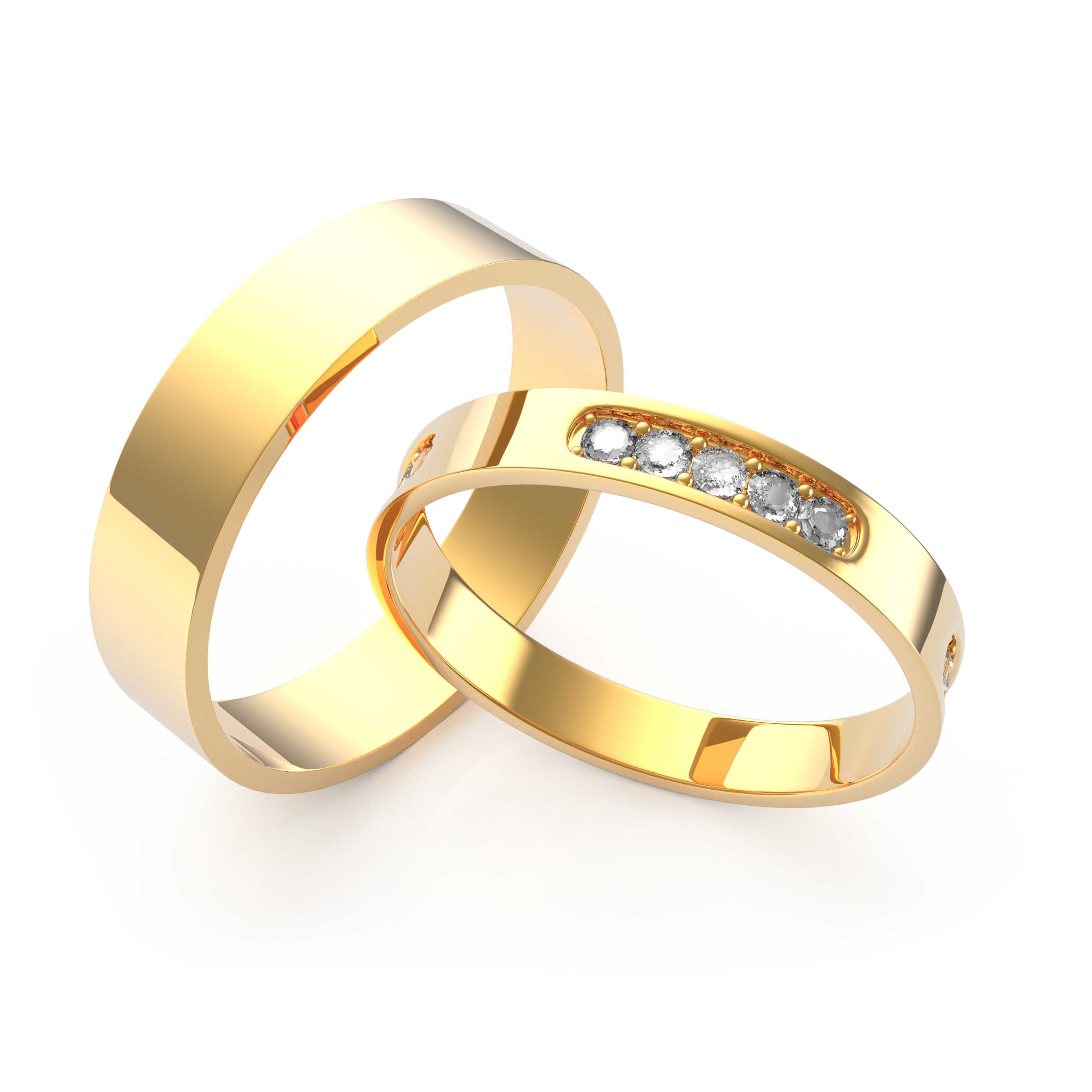 Rings Set Yellow Gold - 3D Model