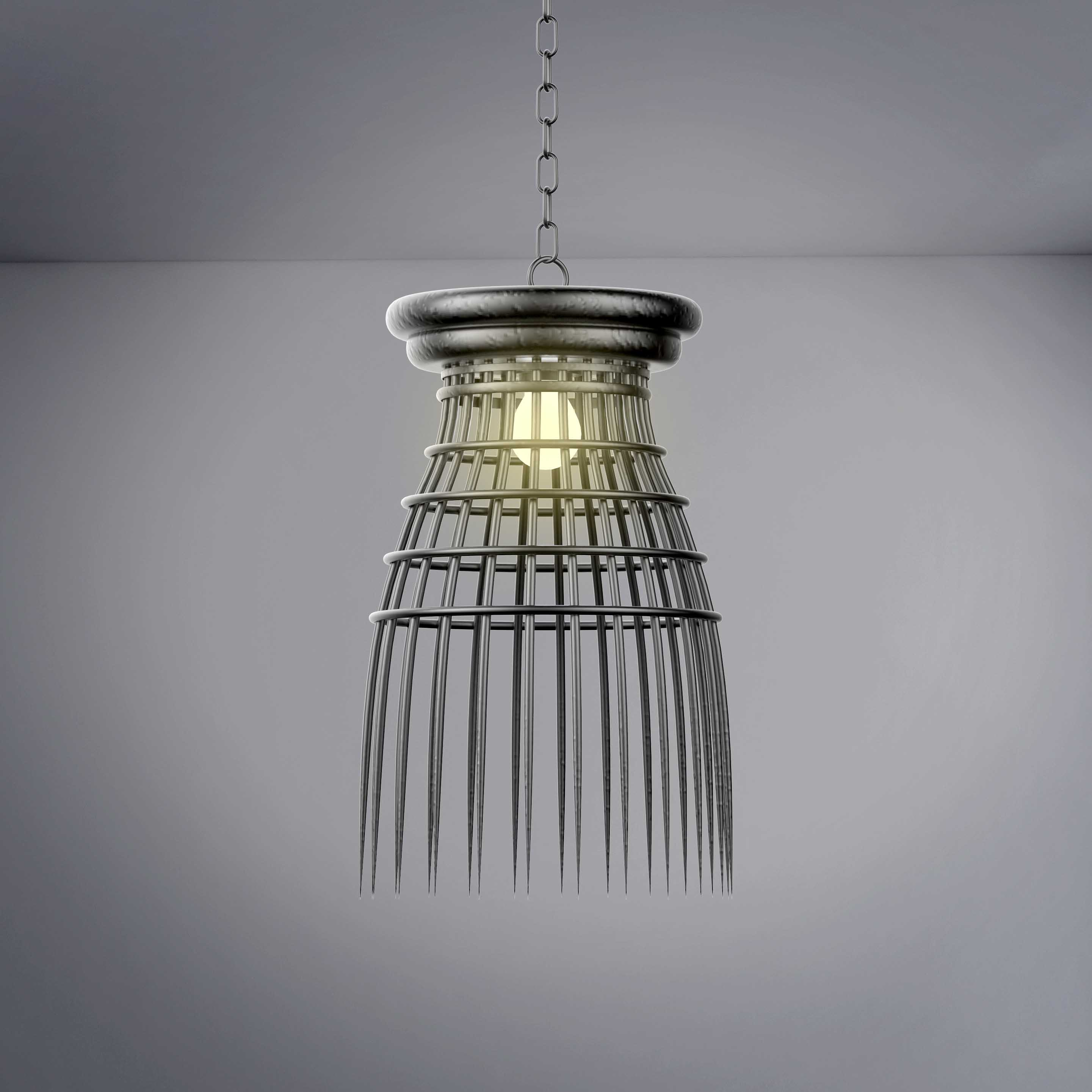 Vintage Cage Style Hanging Chandelier - 3D Product