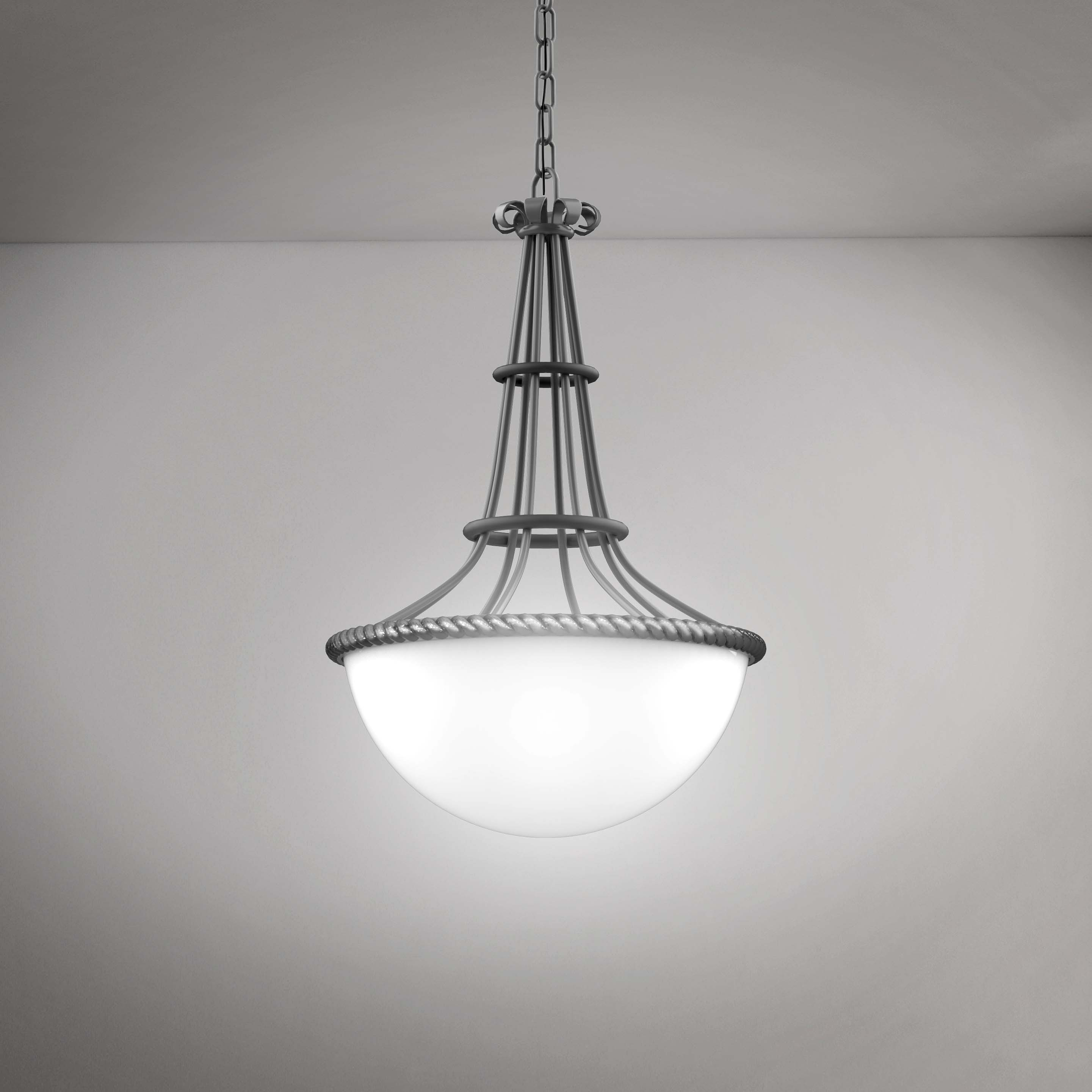 Elegant Modern Hanging Silver Chandelier - 3D Product