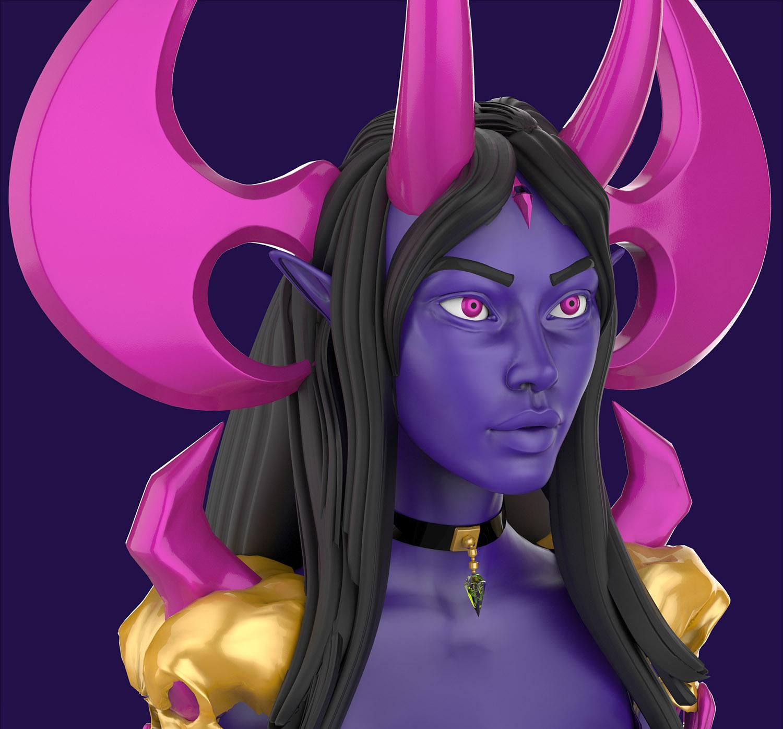 Dracelia Character Design for Video Games 3D Model FACE